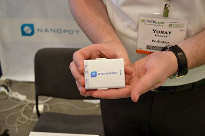 The world's smallest EEG, developed to be used by marijuana-prescribing doctors. <br>