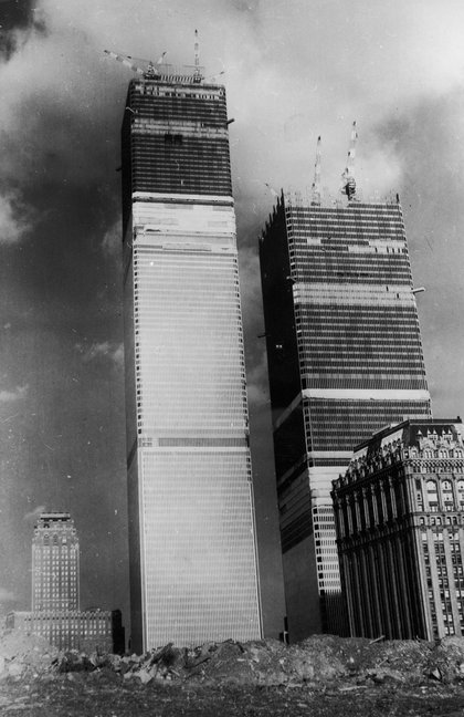 Twin Towers under construction. (Hulton Archive/Getty Images)