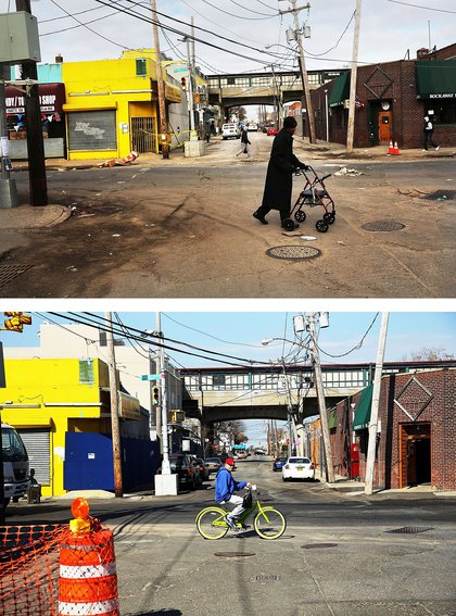 [Top] A man walks through the heavily damaged section November 19, 2012 in the Rockaway neighborhood of the Queens borough of New York City. [Bottom] A man rids a bike there on October 23, 2013.