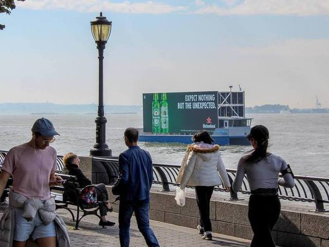 The LED billboard boat that arrived in NYC two months ago