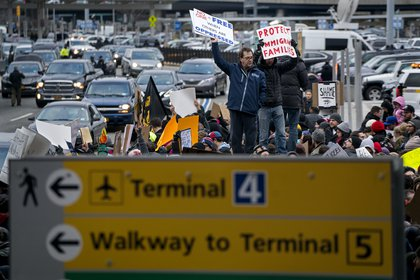Protesters at JFK Airport, January 28, 2017<br>(Craig Ruttle / AP)