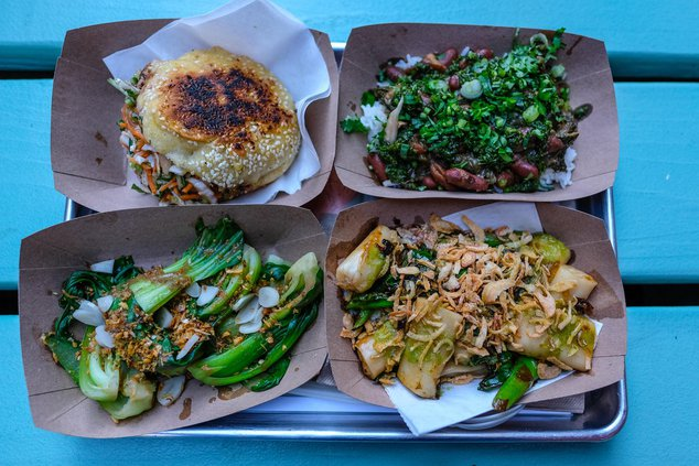 Mushroom Sloppy ($10), Rice, Beans, and Greens ($8), Little Bok Choys ($6), Rice Rolls ($10), at Fat Choy