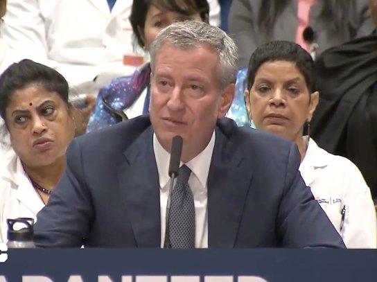 Bill de Blasio at a press conference announcing NYC Care.