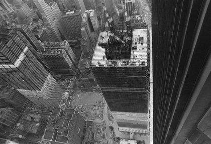 Rooftop view of the construction site, circa 1970. (Hulton Archive/Getty Images)