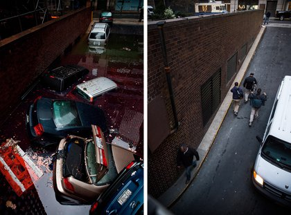 [Top] Destroyed cars float in a flooded car garage due to Superstorm Sandy October 30, 2012 in New York City. [Bottom] People walk in and out of the garage on October 22, 2013 in New York, City.