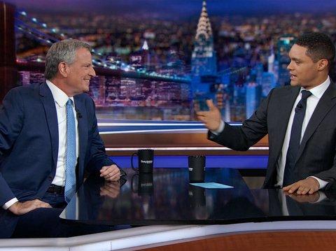 Bill de Blasio chats with Trevor Noah during his Wednesday night appearance on The Daily Show.