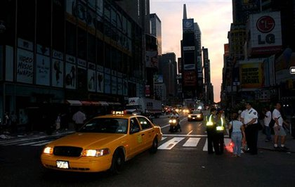 Times Square, with the only light from cars.