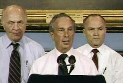 Somewhat sweaty Fire Commissioner Nicholas Scoppetta, Mayor Bloomberg and Police Commissioner Ray Kelly.