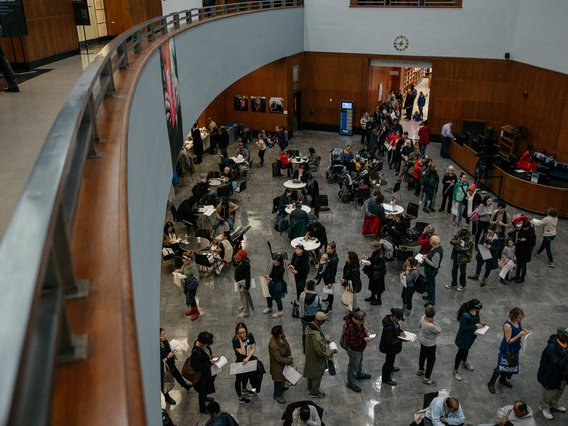 """Voters at Brooklyn Public Library during last year's general election, where voters reported """"an hour and a half wait minimum"""""""