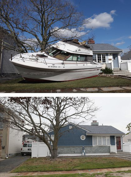 [Top] In the aftermath of Hurricane Sandy, boats continue to litter the landscape on Grant Street on November 2, 2012 in Freeport, New York. [Bottom] A home that had sustained damage during Superstorm Sandy sits on Grant Street on October 22, 2013 in Freeport, New York.