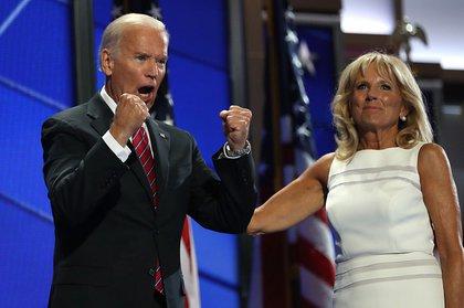 Joe Biden gets pumped beside his wife Jill (Getty)