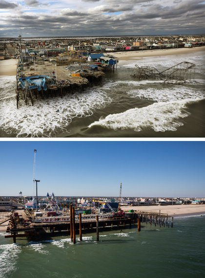 [Top] The boardwalk and amusement park in Seaside Heights, New Jersey is shown destroyed by Superstorm Sandy on October 31, 2012. [Bottom] The boardwalk and amusement park in Seaside Heights, New Jersey is shown October 21, 2013.