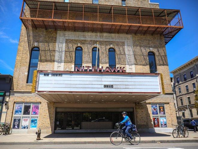 Nitehawk Cinema marquee reads: Onward