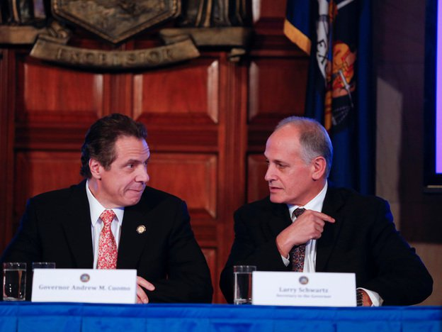 Governor Andrew Cuomo with former top aid Larry Schwartz in 2014