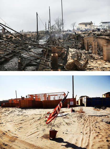 [Top] Homes sit destroyed after Hurricane Sandy on October 30, 2012 in the Breezy Point neighborhood of the Queens borough of New York City. [Bottom] Workers construct new homes on October 23, 2013 in the Breezy Point neighborhood of the Queens borough of New York City.