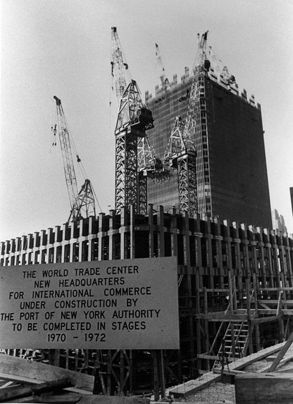 Sign announcing World Trade Center completion schedule, circa 1969. (Hulton Archive/Getty Images)