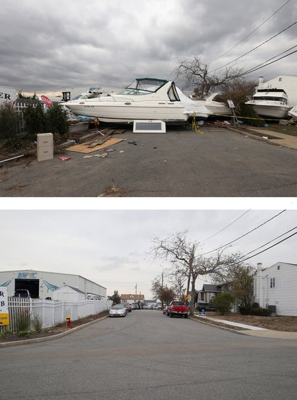 [Top] A boat from the Blue Water Club blocks Whaleneck Drive in the aftermath of Superstorm Sandy on November 1, 2012 in Merrick, New York. [Bottom] Cars sit parked on Whaleneck Drive, which had been littered with boats after Superstorm Sandy on October 22, 2013 in Merrick, New York.
