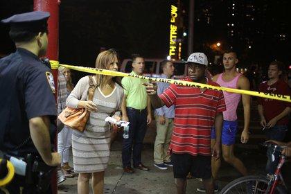 Residents in Hell's Kitchen weren't allowed to cross the street (Ellen Moynihan/Gothamist)