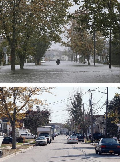 [Top] A lone figure makes his way down South 9th Street as high tide, rain and winds flood local streets on October 29, 2012 in Lindenhurst, New York. [Bottom] A scenic view of South 9th Street as photographed almost one year following Superstorm Sandy on October 22, 2013 in Lindenhurst, New York.(Getty Images)