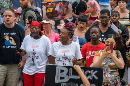Protesters march on the fifth anniversary of Eric Garner's death<br>