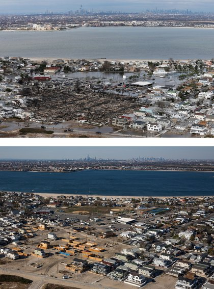 [Top] The remains of burned homes are surrounded by water due to Superstorm Sandy in the Breezy Point neighborhood of the Queens borough of New York City October 31, 2012. [Bottom] Newly built homes and vacant lots are shown in Breezy Point.