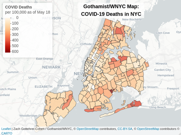 Heat map showing highest deaths per capita in the five boroughs. The map is broken down by by zip code and gets darker with higher death rates. Communities in Queens, South Brooklyn and the Bronx have higher death per capita rates than Manhattan. East New York, East Elmhurst, College Point, Corona and the East Bronx have some of the highest rates.