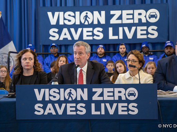 Mayor Bill de Blasio and DOT Commissioner Polly Trottenberg during a Vision Zero press conference earlier this year