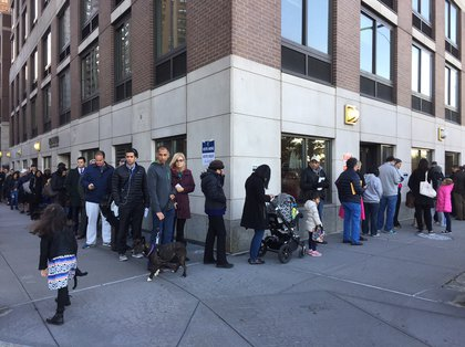 "The line outside 180 Riverside Boulevard, aka a ""Trump Place"" building (Gothamist)"