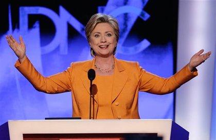 Senator Hillary Clinton gets the crowd going.