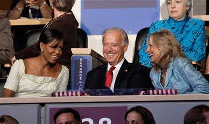 Michelle Obama, vice-presidential candidate Joe Biden and Jill Biden.