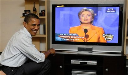 And presidential candidate Barack Obama watched Clinton's speech from the home of a Billings, Montana family.