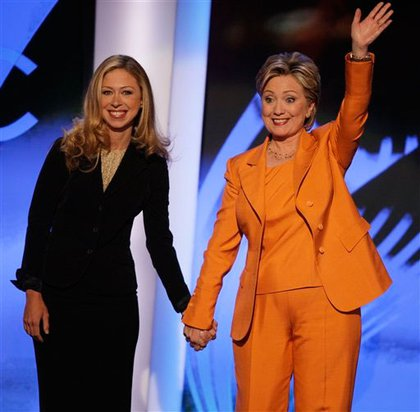 Chelsea Clinton, who introduced her mother, and Hillary Clinton