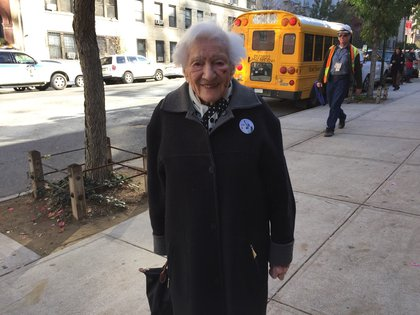 "Sally Lindenbaum, 98, on the Upper West Side said she is ""very exited"" to vote for first female president. She's lived in New York since 1941. (Jen Chung / Gothamist)"