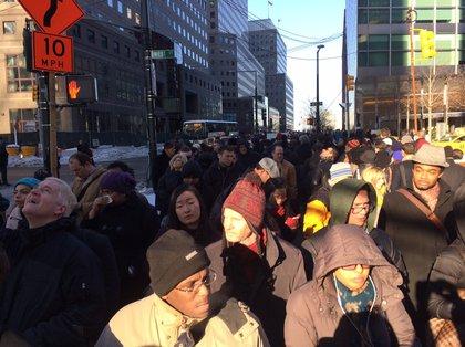 On the median at West Street (Dan Dickinson/Gothamist)