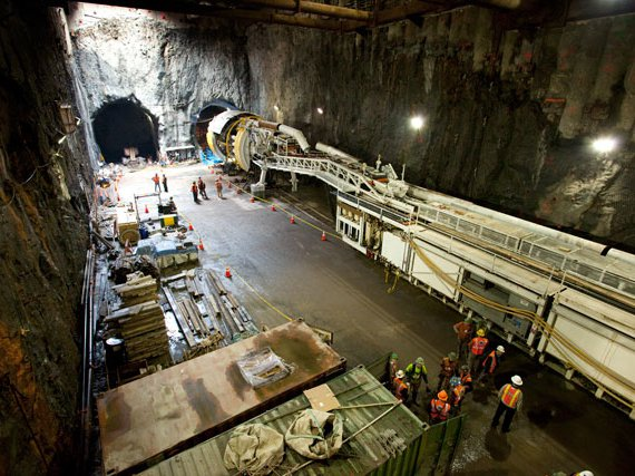 "The boring machine, nicknamed ""Adi,"" sits in the southbound tunnel at 96th Street, 2011. (Jake Dobkin/Gothamist)"