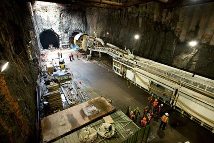 """The boring machine, nicknamed """"Adi,"""" sits in the southbound tunnel at 96th Street, 2011. (Jake Dobkin/Gothamist)"""