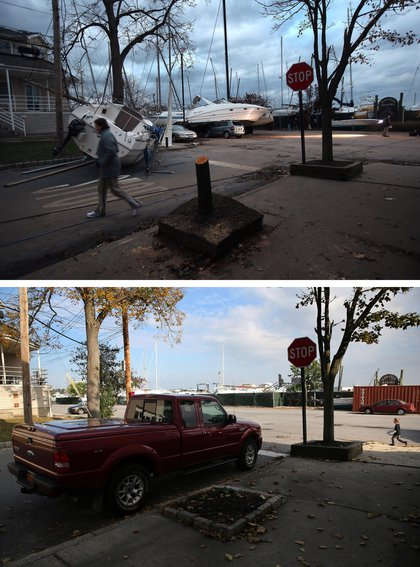 [Top] Boats pushed up by Hurricane Sandy lie against residences near a marina on November 2, 2012 in the Staten Island borough of New York City. [Bottom] A truck sits parked near a marina on October 17, 2013.
