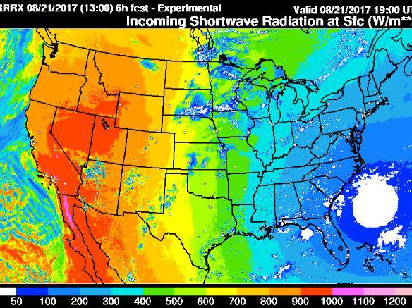 Sunlight forecast from NOAA's Earth System Research Laboratory