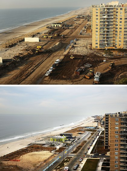 [Top] Clean-up continues amongst piles of debris where a large section of the iconic boardwalk was washed away on November 10, 2012 in the Rockaway neighborhood of the Queens borough of New York City. [Bottom] Cars sit parked on the street October 20, 2013.