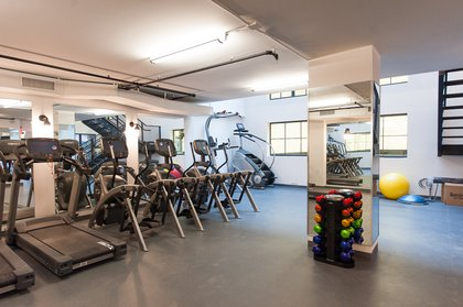 """The cardio room. """"I don't know what percentage of our residents are vegan,"""" Maundrell says, """"But they like to take care of themselves.""""<br/>"""
