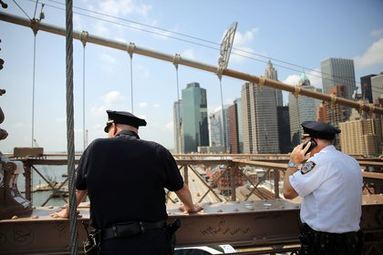 Police at the Brooklyn Bridge on Wednesday (Getty Images)