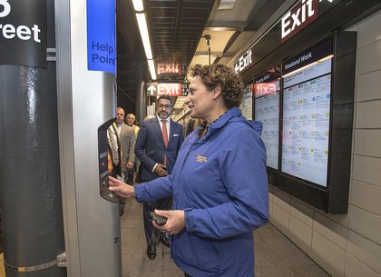 Trying out the help point (Patrick Cashin / MTA)