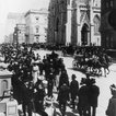 """""""1902: Crowds walking to Church on Easter Morning on Fifth Avenue, New York. St Patrick's Cathedral on the right."""" (Getty Images)"""