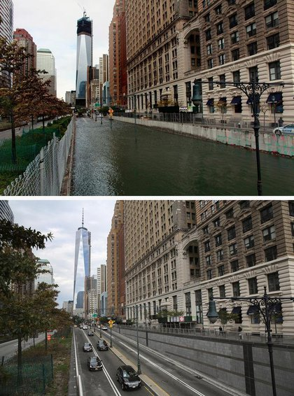 [Top] Hugh L. Carey Tunnel sits flooded after a tidal surge caused by Hurricane Sandy, on October 30, 2012 in New York City. [Bottom] Traffic passes from Manhattan into the Hugh L. Carey Tunnel on October 22, 2013 in New York City.(Getty Images)