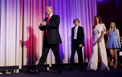 "Trump with Barron (""Cyber""), Melania Trump and Ivanka Trump<br>"