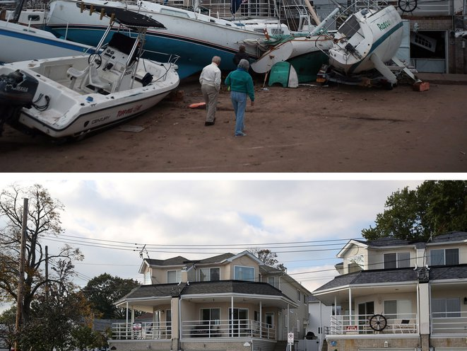 [Top] Boats pushed up by Hurricane Sandy lie against residences near a marina on November 2, 2012 in the Staten Island borough of New York City. [Bottom] A woman walks her dog near a marina on October 17, 2013 in the Staten Island borough of New York City.