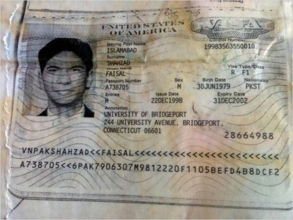 Shahzad's old visa found discarded in the trash
