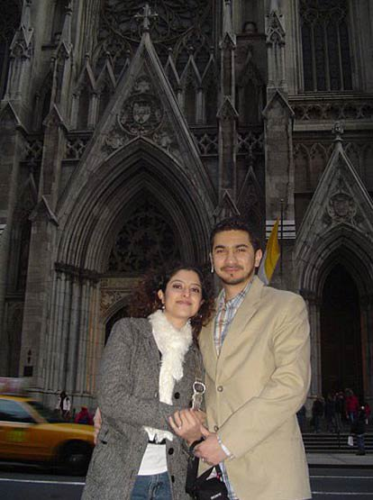 Shahzad and his wife outside St. Patrick's Cathedral