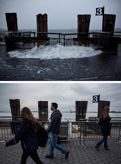 [Top] Rising water caused by Superstorm Sandy rushes onto the pathway at Battery Park on October 29, 2012 in New York City. [Bottom] Tourists walk along the pathway in Battery Park October 23, 2013.