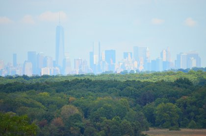 One World Trade Center and Lower Manhattan as seen from the North Park area of Freshkills Park<br/>